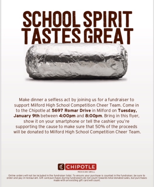Cheer Chipotle Fundraiser Flyer